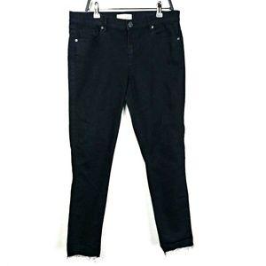 LOFT Black Modern Skinny Raw Hem Ankle Jeans